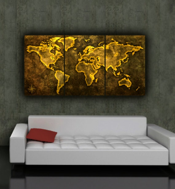 World map art on canvas browngolds 3 panel gallery wrap world map art on canvas browngolds 3 panel gallery wrap set world map poster world map canvas canvas wall art gumiabroncs Image collections