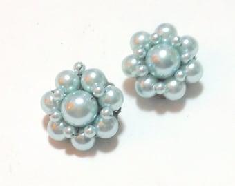 Vintage Pale Blue Beaded Clip Earrings
