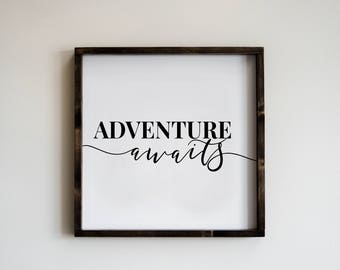 Adventure Awaits 24x24 | hand painted | wood sign | farmhouse | rustic | modern