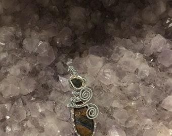 Pietersite with Moldavite Pendant