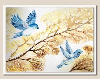 Purpose-built Watercolour. Birds, autumn, winter.