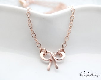 Bow Necklace Rose Gold necklace Bridesmaid necklace gold bow necklace Rose gold charm necklace Rose Gold Bow necklace Rose Gold filled