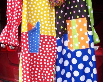 Adult Polka Dot clown jumpsuit costume one size fits most NEW one of a kind custom made