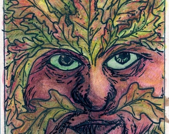 Autumn Oak Leaf Green Man 1 ACEO