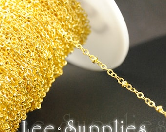 Gold Plated Flat Cable Chain with 2mm Oblate Bead Link Necklace Chain - Soldered C06