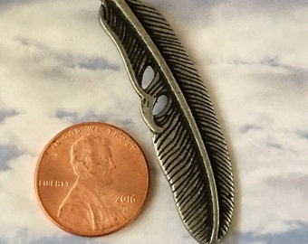 Feather Pendant Gunmetal Antiqued Silver Pewter Curved