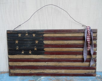 Large Handmade Wooden Primitive Flag Wall Hanging!