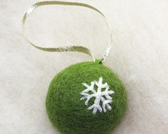 Felted Snowflake Christmas Ornament Wool Fiber Collectible