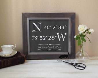 We Found Each Other - Custom Coordinates Chalkboard Art Print - Frame not included