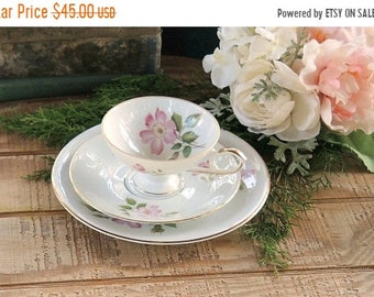 ON SALE Vintage Edelstein Bavarian Tea Cup Trio, Rosebuds, French Shabby Chic, Tea Party, Dessert Plate, Numbered
