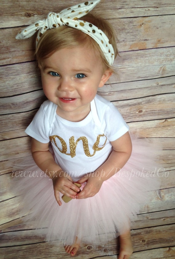 Baby girls first birthday outfit with knotted headband Gold