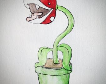Mario - Geek-Carnivore plant watercolor painting