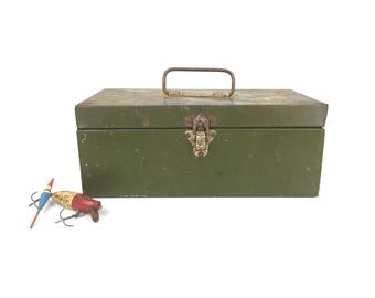 Vintage Tackle Box 1950s Old Green Metal Fishing Tackle Box Old Nautical Fishing Tackle Box Small Green Fishing Tackle Box