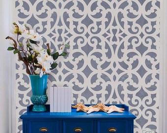 Large Trellis Pattern Wall Stencil - Designer Wallpaper Design for Custom Painting - Boho Bohemian Modern DIY Mural