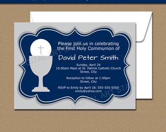 First Communion Invitation Boy, 1st Communion Invitation Design, Printable Invitation for First Communion, First Holy Communion Boy FC1