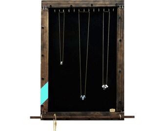 Jewelry Storage Organizer // Necklace Display // Bracelet Holder // Sunglass Organizer // Eco-Friendly Jewelry Storage // Turquoise Chevron