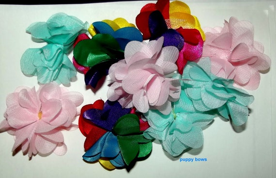 Puppy Bows ~Fluffy FLOWERS dog grooming bows Yorkie Maltese Shih Tzu ~USA seller  (fb65)