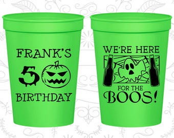 50th Birthday Party Cups, Custom Plastic Birthday Cups, Pumpkin Birthday, Halloween Birthday Cups, Ghost Birthday Cups (20292)