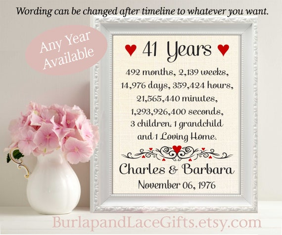 Gift To Husband On Wedding Anniversary: 41st Anniversary Gift To Wife Gift To Husband Gift 41st