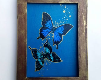 Blue Mountain and Emerald Swallowtail Butterflies - original framed acrylic painting - with goldleaf
