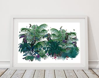 Toucan print - Andigena - tropical toucans tropical wall art tropical art print modern botanical art print toucan painting tropical decor