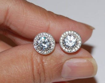 925 Sterling Silver SS Earrings Simulated Diamonds Round Cluster High Quality