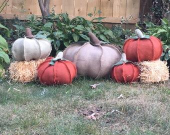 Jumbo Stuffed Pumpkin:Handmade burlap pumpkin just in time for the autumn season! Your choide of an orange or natural!