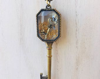 Key within a Key Gold Pendant Necklace