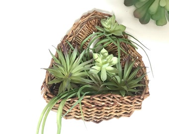 Vintage Wall Basket Air Plant Basket Hanging Basket Gallery Bohemian Decor Basket Collection 1970s Boho Decor 70s Wicker 1970s Basket Decor