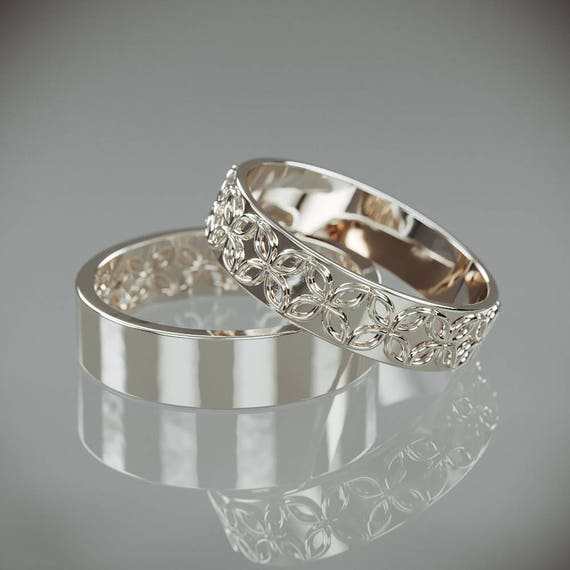 14K White Gold Celtic Flower Wedding Rings Set Handmade 14k