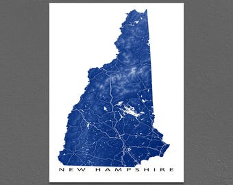 New Hampshire Map, New Hampshire Art Print, USA State Outline Map Poster