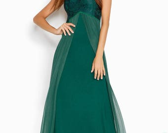 Deep green evening dress, evening gown, elegant dress, floor length dress, maxi dress