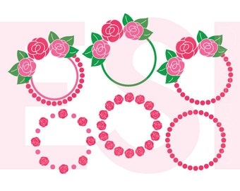 Valentines svg, Rose Monogram Frame svg, Flower Monogram SVG, DXF, EPS, Png, Rose, Summer svg, Silhouette Studio & Cricut Design Space