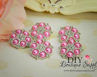 Pearls Rhinestone buttons Pink Pearls Acrylic  Flower centers Embellishment Headband Supplies 5 pcs 25mm 088040
