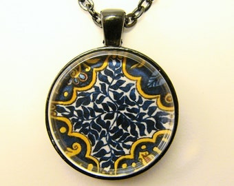 MEXICAN TALAVERA TILE Necklace -- Blue leaves, Detail from hand-painted Mexican Tile, Friendship token