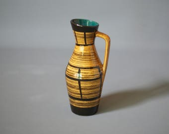WEST GERMAN POTTERY Vase, Scheurich Vase 274 21, Yellow German Vase, Ochre German Vase, German Mid Century Vase, Yellow Scheurich Vase