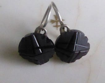 SALE Charming Antique Victorian Silver French Dormeuse Square Cut Carved Jet Earrings.