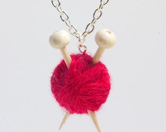 Miniature Knitting Needles & Ball of Wool Necklace - Red Yarn