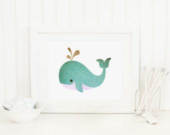 Whale Printable Nursery Whale Wall Art Whale Prints Nautical Nursery Decor Nautical Wall Art Kid's Bathroom Decor Whale Art Teal Pink
