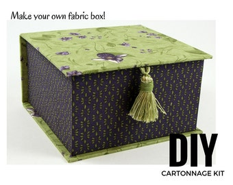 Fabric covered box DIY kit, cartonnage fabric box kit, fabric covered diy tea box (DIY kit 108), online instructions included