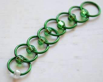 Emerald / Stitch Markers - Dangle Free Snag Free Knitting Stitch Markers - Small Medium Large Sizes Available