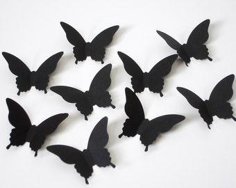 50 Black Elegant Butterfly punch die cut confetti embellishments - No393