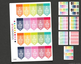No Spend Day Planner Stickers - Repositionable Matte Vinyl to suit all planners