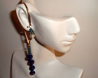 Sterling Silver Over the Ear wrap with Blue Beads - Ear Cuff - Funky Earring - Beautiful Colors -  Gypsy Bohemian Design - Shades of Blue