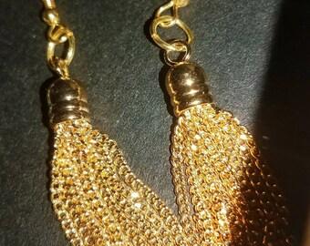 14k Gold Plated Tassel Earrings Trending Jewelry Everyday Earrings Layering Earrings Tassels Chain Earrings Gifts for Her Metal Earrings