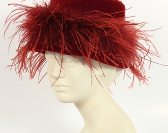 Vintage velvet hat with ostrich feathers
