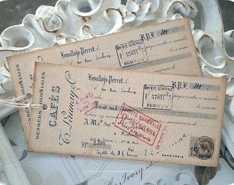 Vintage French Cafe Tags (10) Vintage Style Tags-French Gift Tags-French Ephemera-Antique Labels-French Labels-Shabby Gift Tags-Price Tags