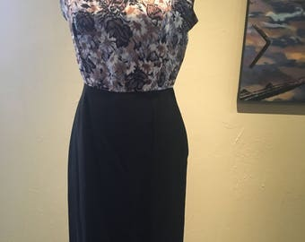 Flattering 1960s Vintage Black Floral Wiggle Dress
