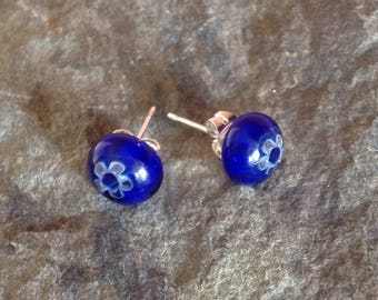 Blue Flower Glass Stud Earrings