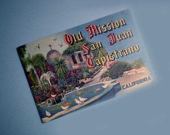 Vintage 40s Old Mission San Juan Capistrano Souvenir Booklet
